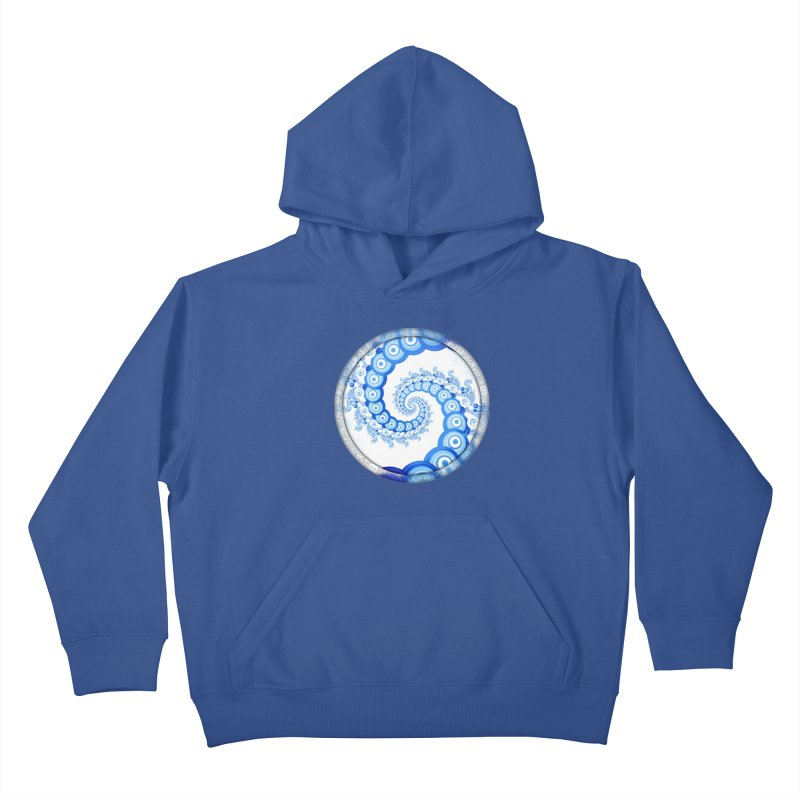 Chinese Sky Blue and Cloud White Tentacle Spiral Kids Pullover Hoody by The Fractal Art of San Jaya Prime