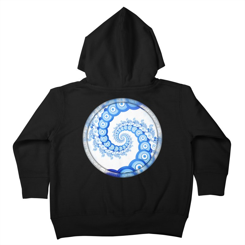 Chinese Sky Blue and Cloud White Tentacle Spiral Kids Toddler Zip-Up Hoody by The Fractal Art of San Jaya Prime
