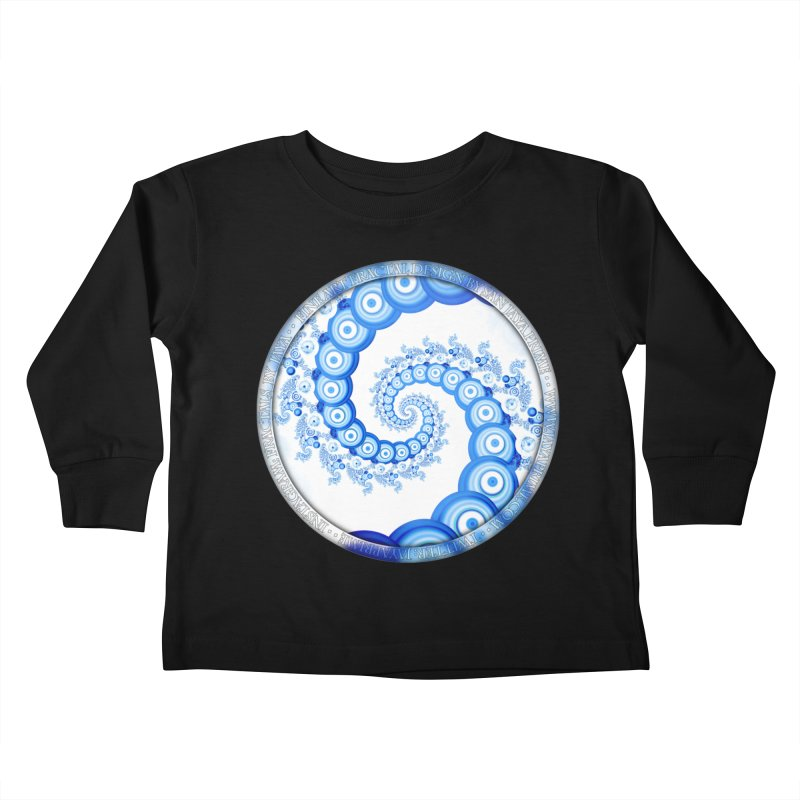 Chinese Sky Blue and Cloud White Tentacle Spiral Kids Toddler Longsleeve T-Shirt by The Fractal Art of San Jaya Prime