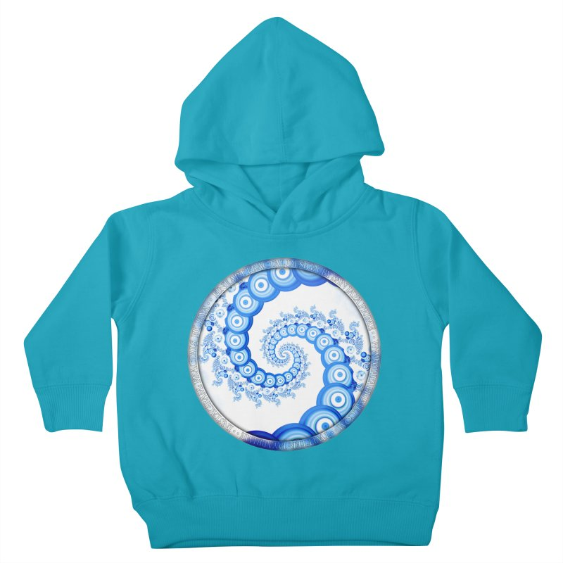 Chinese Sky Blue and Cloud White Tentacle Spiral Kids Toddler Pullover Hoody by The Fractal Art of San Jaya Prime