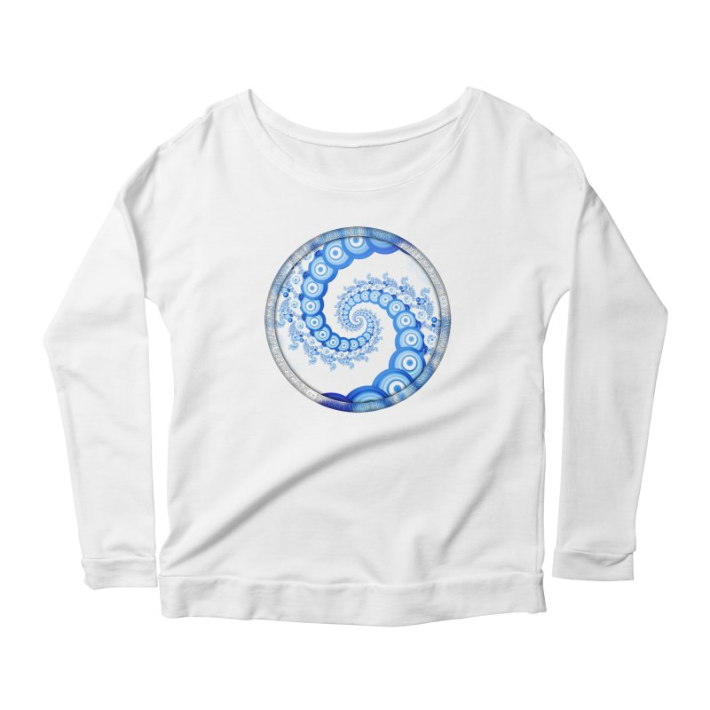 Chinese Sky Blue and Cloud White Tentacle Spiral Women's Scoop Neck Longsleeve T-Shirt by The Fractal Art of San Jaya Prime