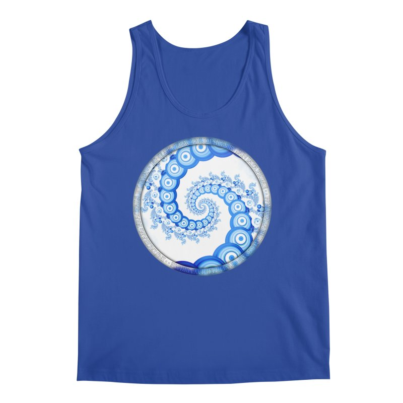 Chinese Sky Blue and Cloud White Tentacle Spiral Men's Regular Tank by The Fractal Art of San Jaya Prime