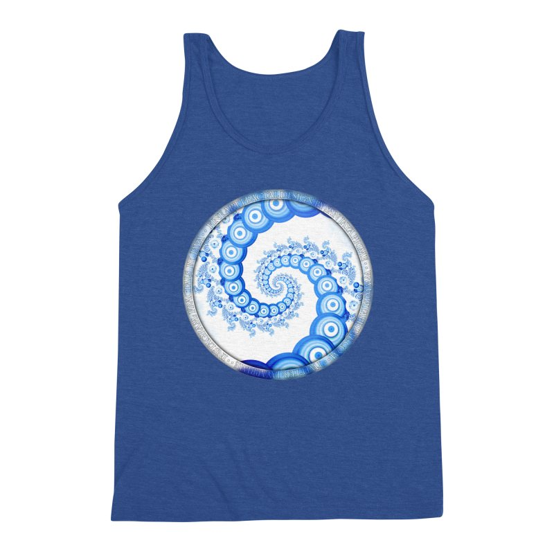 Chinese Sky Blue and Cloud White Tentacle Spiral Men's Triblend Tank by The Fractal Art of San Jaya Prime