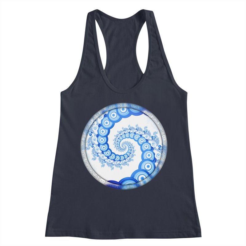 Chinese Sky Blue and Cloud White Tentacle Spiral Women's Racerback Tank by The Fractal Art of San Jaya Prime
