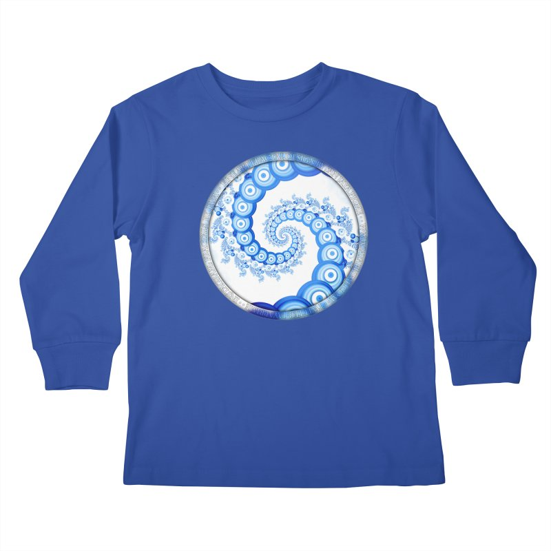 Chinese Sky Blue and Cloud White Tentacle Spiral Kids Longsleeve T-Shirt by The Fractal Art of San Jaya Prime