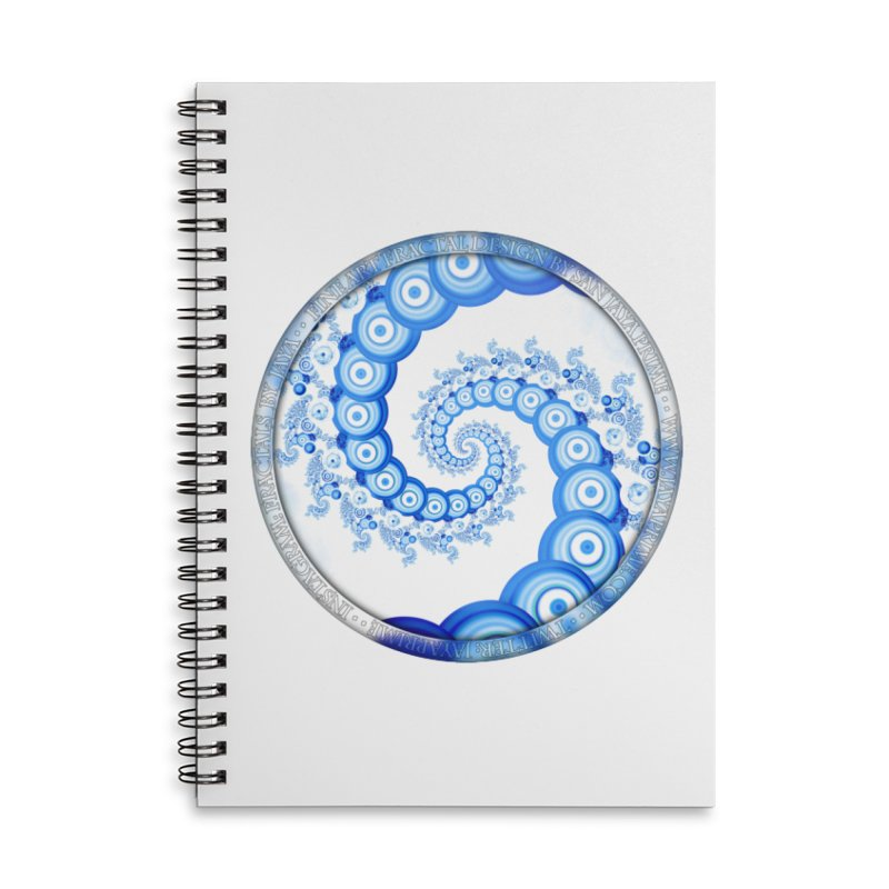 Chinese Sky Blue and Cloud White Tentacle Spiral Accessories Lined Spiral Notebook by The Fractal Art of San Jaya Prime