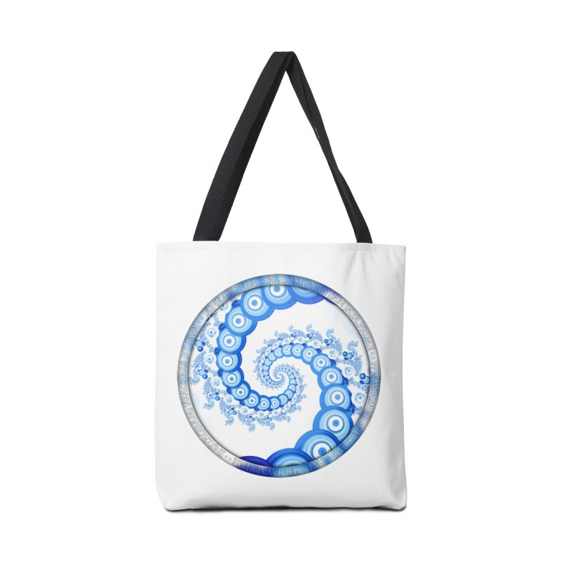 Chinese Sky Blue and Cloud White Tentacle Spiral Accessories Tote Bag Bag by The Fractal Art of San Jaya Prime