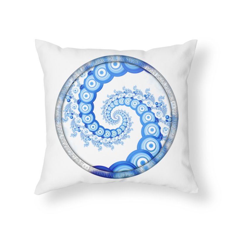 Chinese Sky Blue and Cloud White Tentacle Spiral Home Throw Pillow by The Fractal Art of San Jaya Prime