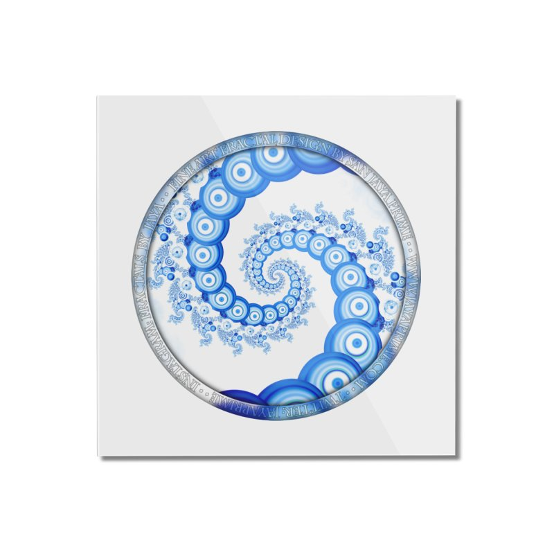 Chinese Sky Blue and Cloud White Tentacle Spiral Home Mounted Acrylic Print by The Fractal Art of San Jaya Prime