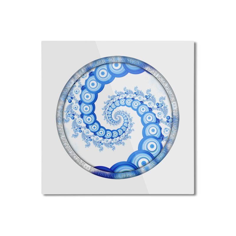 Chinese Sky Blue and Cloud White Tentacle Spiral Home Mounted Aluminum Print by The Fractal Art of San Jaya Prime