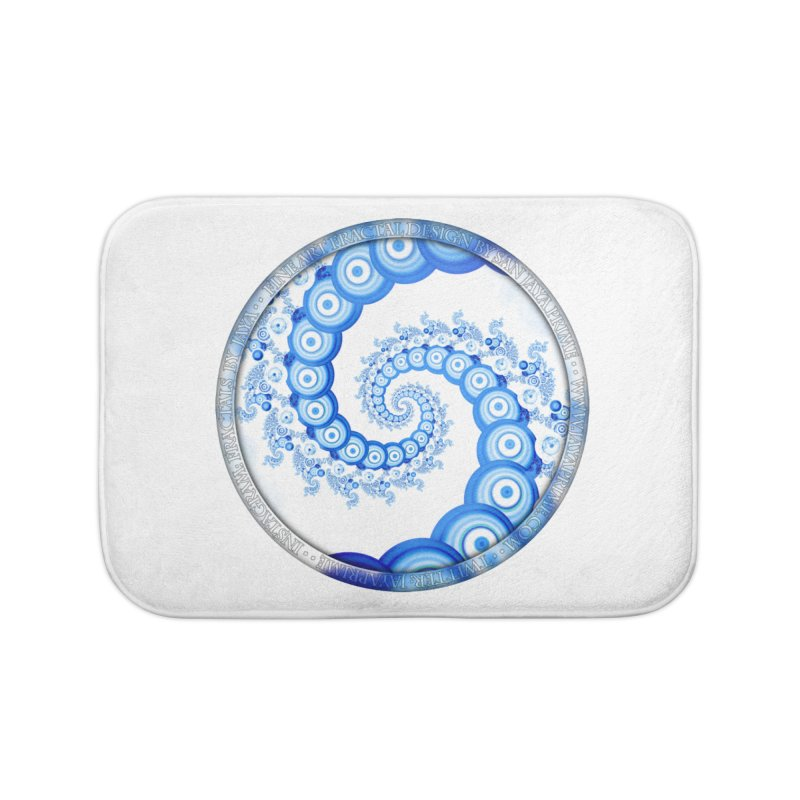 Chinese Sky Blue and Cloud White Tentacle Spiral Home Bath Mat by The Fractal Art of San Jaya Prime