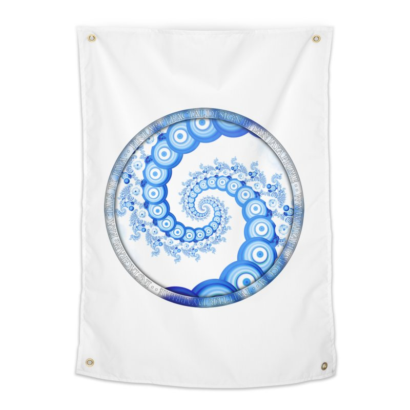 Chinese Sky Blue and Cloud White Tentacle Spiral Home Tapestry by The Fractal Art of San Jaya Prime