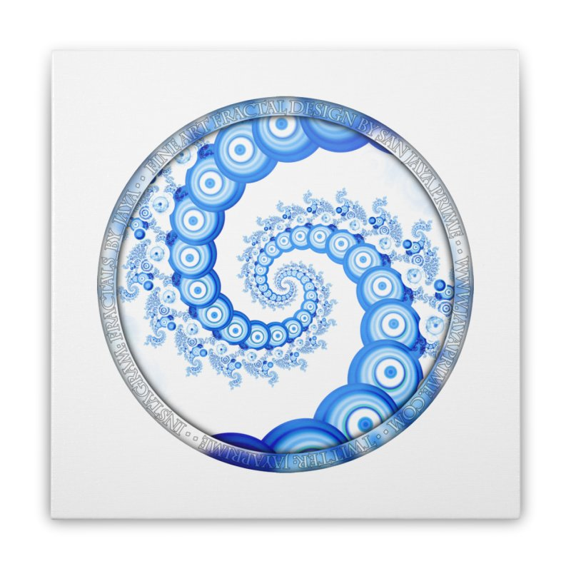 Chinese Sky Blue and Cloud White Tentacle Spiral Home Stretched Canvas by The Fractal Art of San Jaya Prime