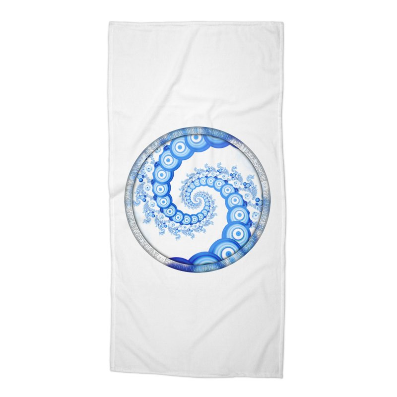 Chinese Sky Blue and Cloud White Tentacle Spiral Accessories Beach Towel by The Fractal Art of San Jaya Prime