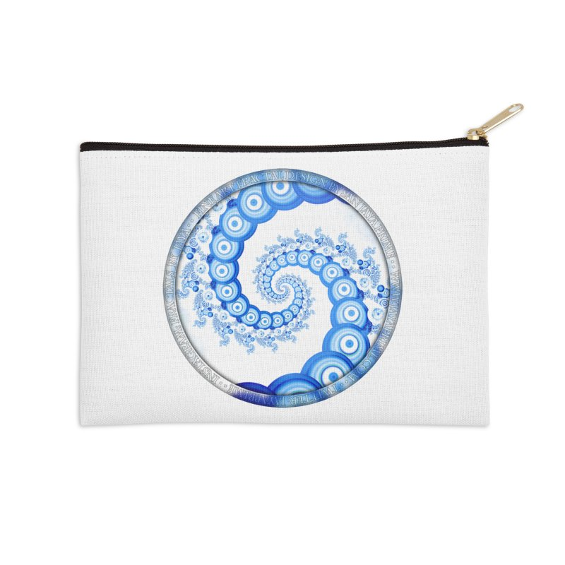 Chinese Sky Blue and Cloud White Tentacle Spiral Accessories Zip Pouch by The Fractal Art of San Jaya Prime