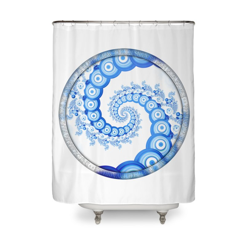 Chinese Sky Blue and Cloud White Tentacle Spiral Home Shower Curtain by The Fractal Art of San Jaya Prime
