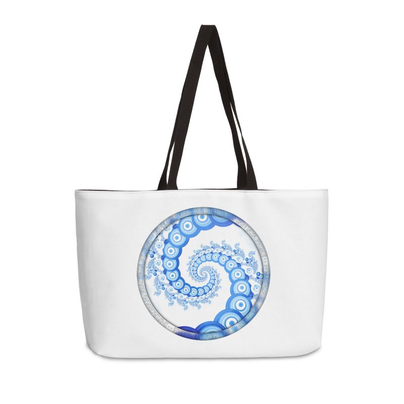 Chinese Sky Blue and Cloud White Tentacle Spiral Accessories Weekender Bag Bag by The Fractal Art of San Jaya Prime