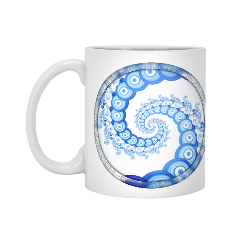 Chinese Sky Blue and Cloud White Tentacle Spiral Accessories Standard Mug by The Fractal Art of San Jaya Prime