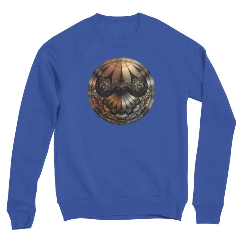 Autumn Fractal Pheasant Feathers in DaVinci Style Men's Sweatshirt by The Fractal Art of San Jaya Prime