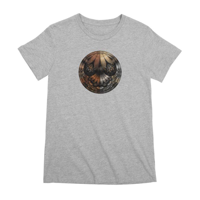 Autumn Fractal Pheasant Feathers in DaVinci Style Women's Premium T-Shirt by The Fractal Art of San Jaya Prime