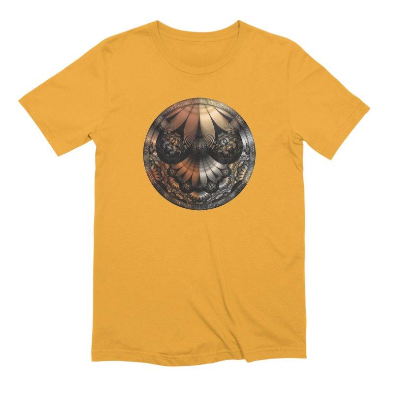 Autumn Fractal Pheasant Feathers in DaVinci Style Men's T-Shirt by The Fractal Art of San Jaya Prime