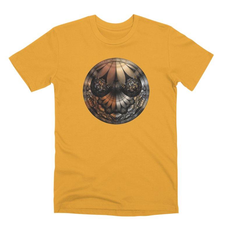 Autumn Fractal Pheasant Feathers in DaVinci Style Men's Premium T-Shirt by The Fractal Art of San Jaya Prime