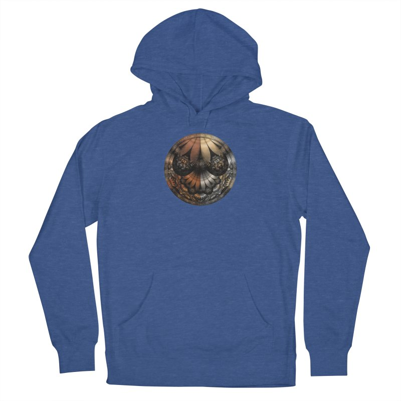 Autumn Fractal Pheasant Feathers in DaVinci Style Men's Pullover Hoody by The Fractal Art of San Jaya Prime
