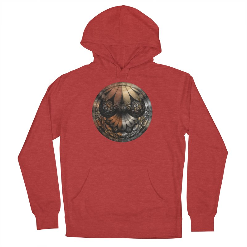 Autumn Fractal Pheasant Feathers in DaVinci Style Women's French Terry Pullover Hoody by The Fractal Art of San Jaya Prime