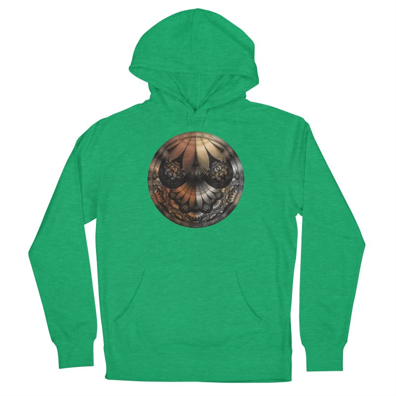 Autumn Fractal Pheasant Feathers in DaVinci Style Men's French Terry Pullover Hoody by The Fractal Art of San Jaya Prime