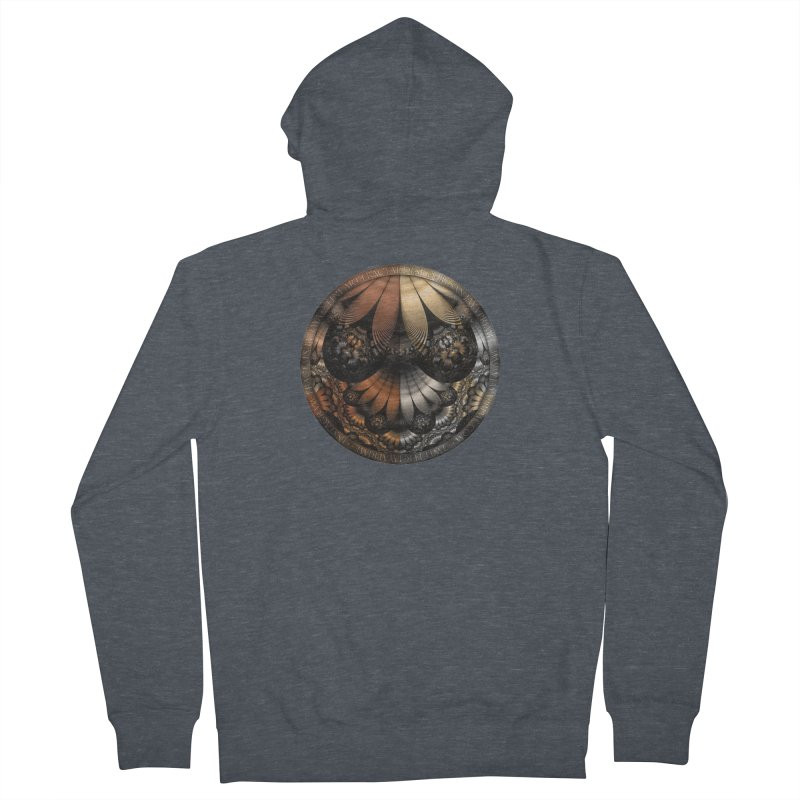 Autumn Fractal Pheasant Feathers in DaVinci Style Women's French Terry Zip-Up Hoody by The Fractal Art of San Jaya Prime
