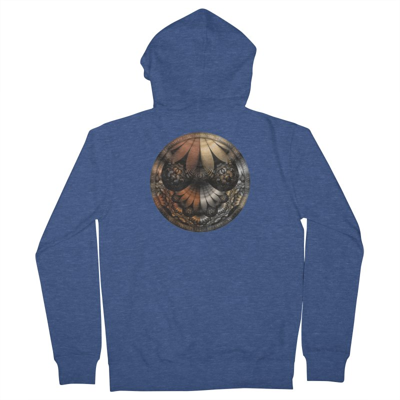Autumn Fractal Pheasant Feathers in DaVinci Style Men's French Terry Zip-Up Hoody by The Fractal Art of San Jaya Prime