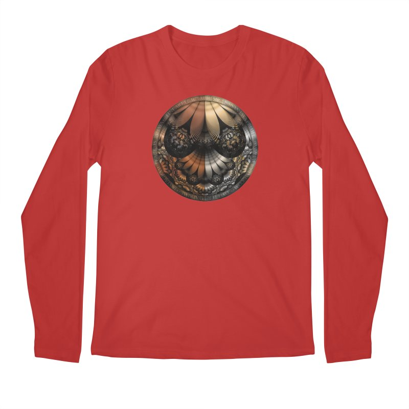 Autumn Fractal Pheasant Feathers in DaVinci Style Men's Regular Longsleeve T-Shirt by The Fractal Art of San Jaya Prime