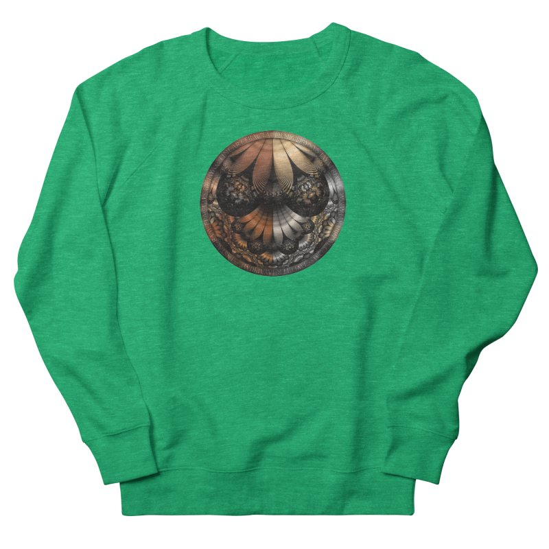 Autumn Fractal Pheasant Feathers in DaVinci Style Women's French Terry Sweatshirt by The Fractal Art of San Jaya Prime