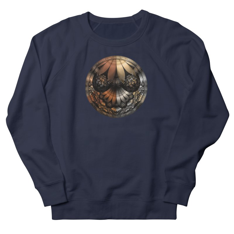 Autumn Fractal Pheasant Feathers in DaVinci Style Men's French Terry Sweatshirt by The Fractal Art of San Jaya Prime