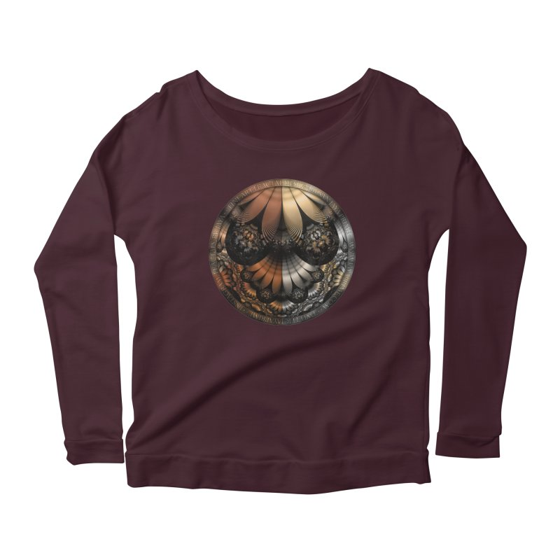 Autumn Fractal Pheasant Feathers in DaVinci Style Women's Scoop Neck Longsleeve T-Shirt by The Fractal Art of San Jaya Prime