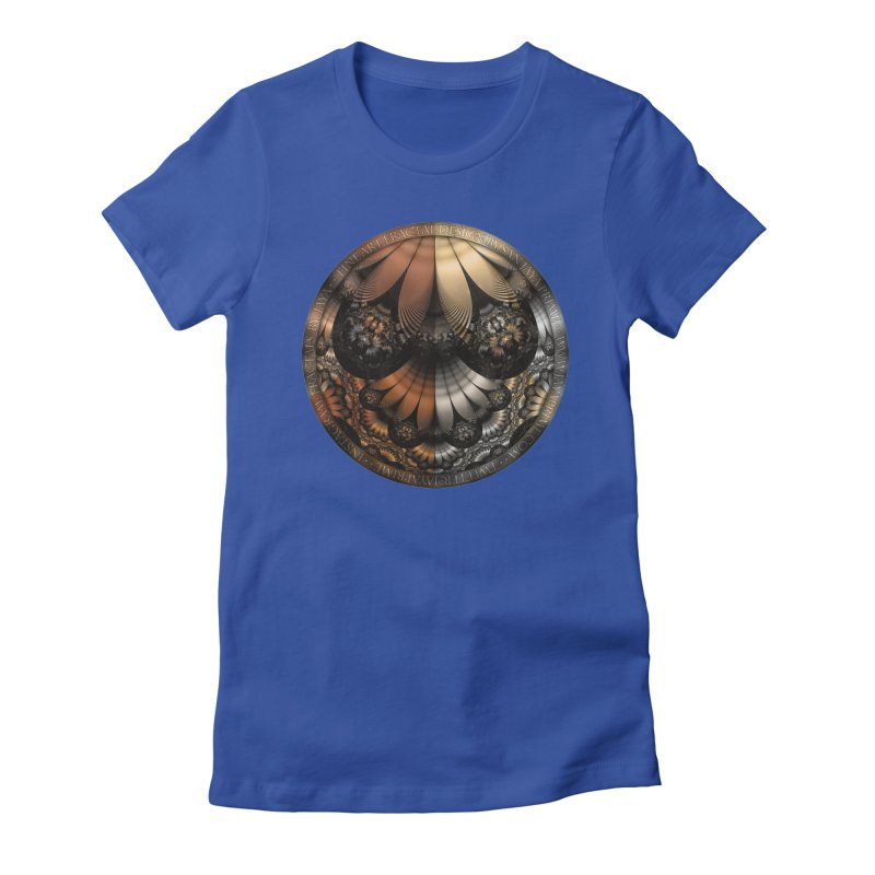 Autumn Fractal Pheasant Feathers in DaVinci Style Women's Fitted T-Shirt by The Fractal Art of San Jaya Prime