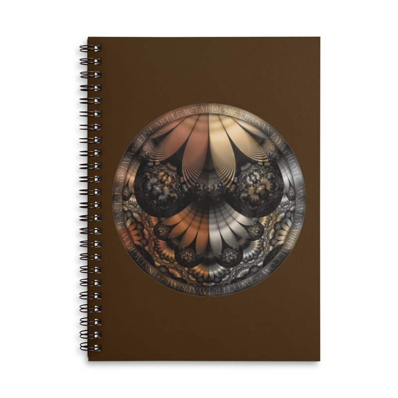 Autumn Fractal Pheasant Feathers in DaVinci Style Accessories Lined Spiral Notebook by The Fractal Art of San Jaya Prime