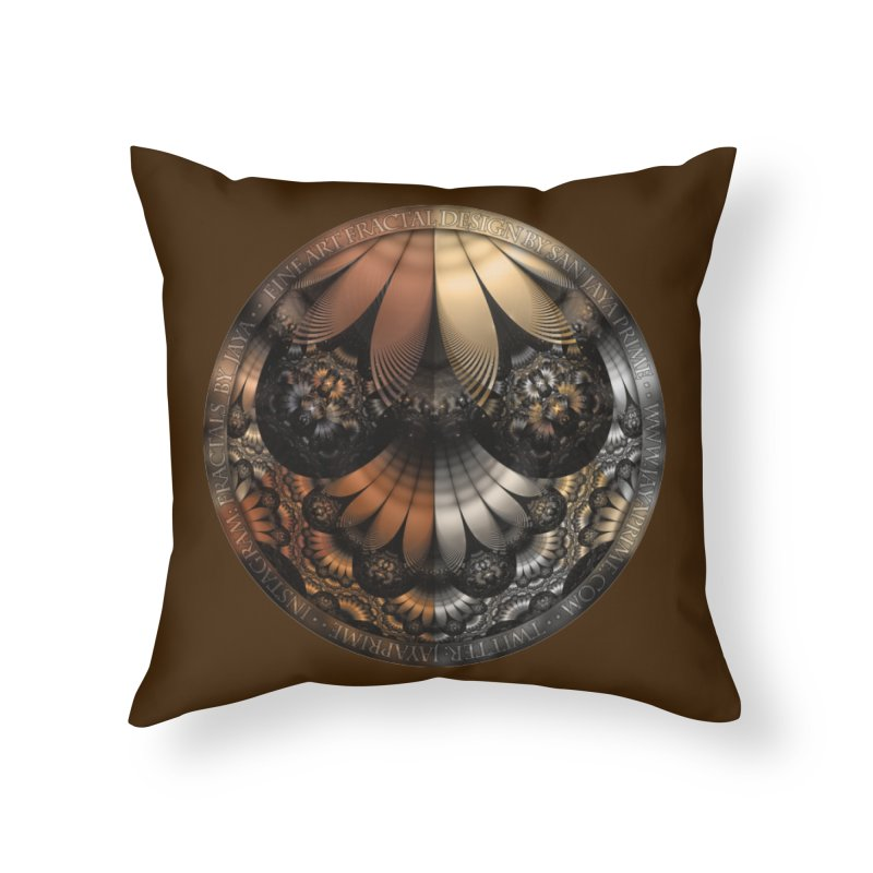 Autumn Fractal Pheasant Feathers in DaVinci Style Home Throw Pillow by The Fractal Art of San Jaya Prime