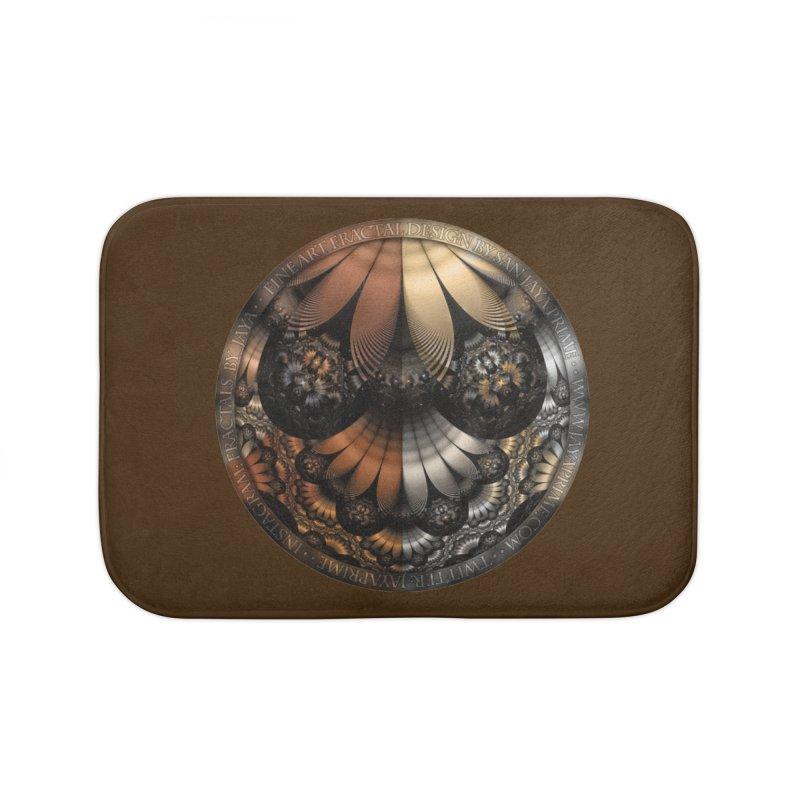 Autumn Fractal Pheasant Feathers in DaVinci Style Home Bath Mat by The Fractal Art of San Jaya Prime