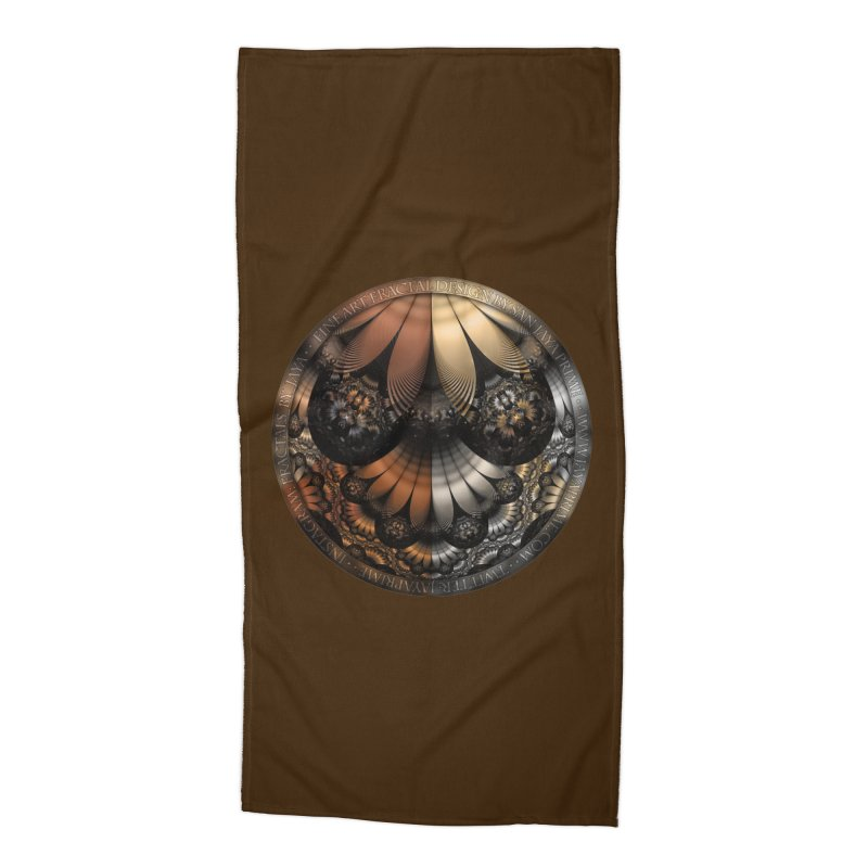 Autumn Fractal Pheasant Feathers in DaVinci Style Accessories Beach Towel by The Fractal Art of San Jaya Prime