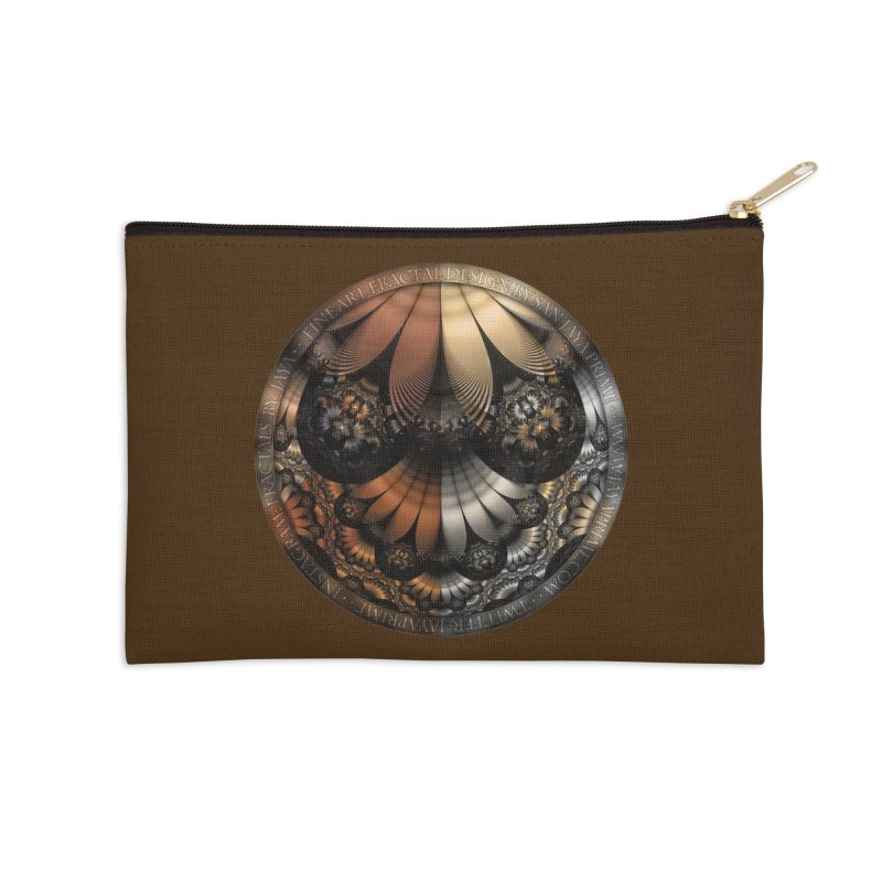 Autumn Fractal Pheasant Feathers in DaVinci Style Accessories Zip Pouch by The Fractal Art of San Jaya Prime