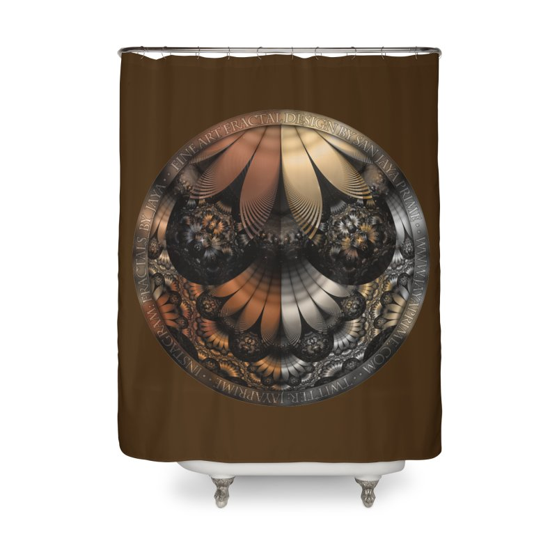 Autumn Fractal Pheasant Feathers in DaVinci Style Home Shower Curtain by The Fractal Art of San Jaya Prime