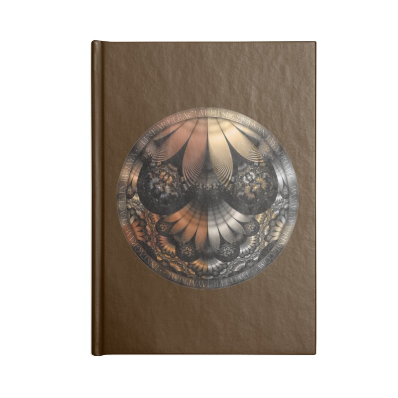Autumn Fractal Pheasant Feathers in DaVinci Style Accessories Lined Journal Notebook by The Fractal Art of San Jaya Prime