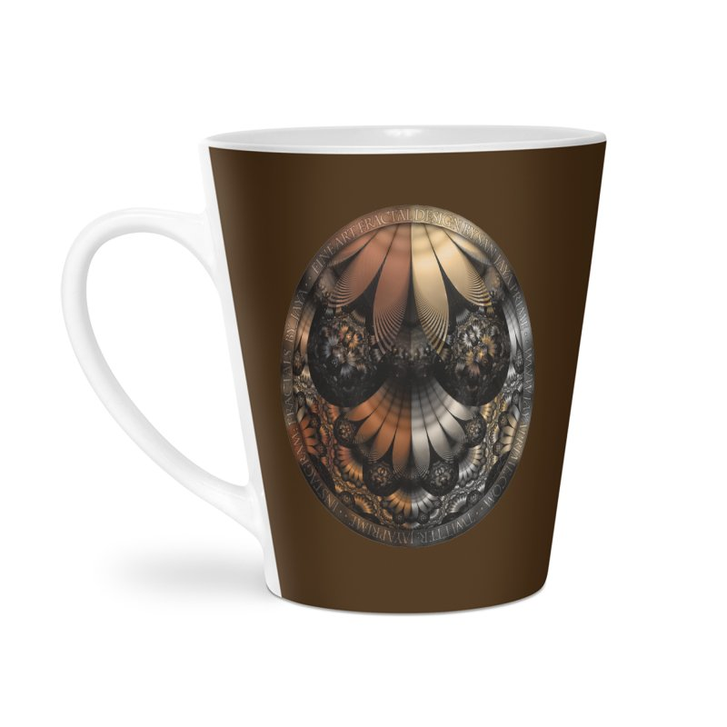 Autumn Fractal Pheasant Feathers in DaVinci Style Accessories Latte Mug by The Fractal Art of San Jaya Prime
