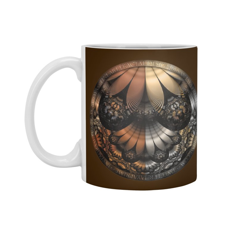 Autumn Fractal Pheasant Feathers in DaVinci Style Accessories Standard Mug by The Fractal Art of San Jaya Prime