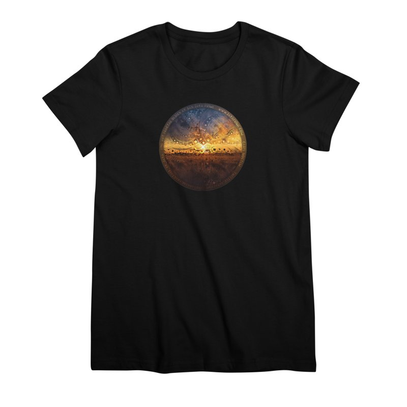 The Endless Sunset Over Our Golden Elysian Fields Women's Premium T-Shirt by The Fractal Art of San Jaya Prime