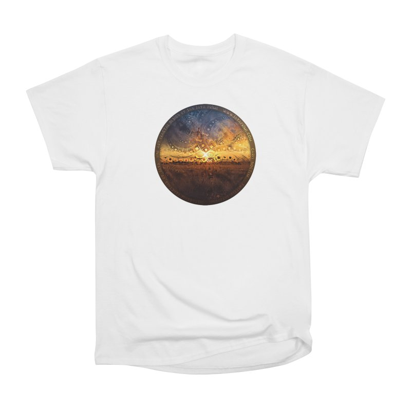 The Endless Sunset Over Our Golden Elysian Fields Men's Heavyweight T-Shirt by The Fractal Art of San Jaya Prime
