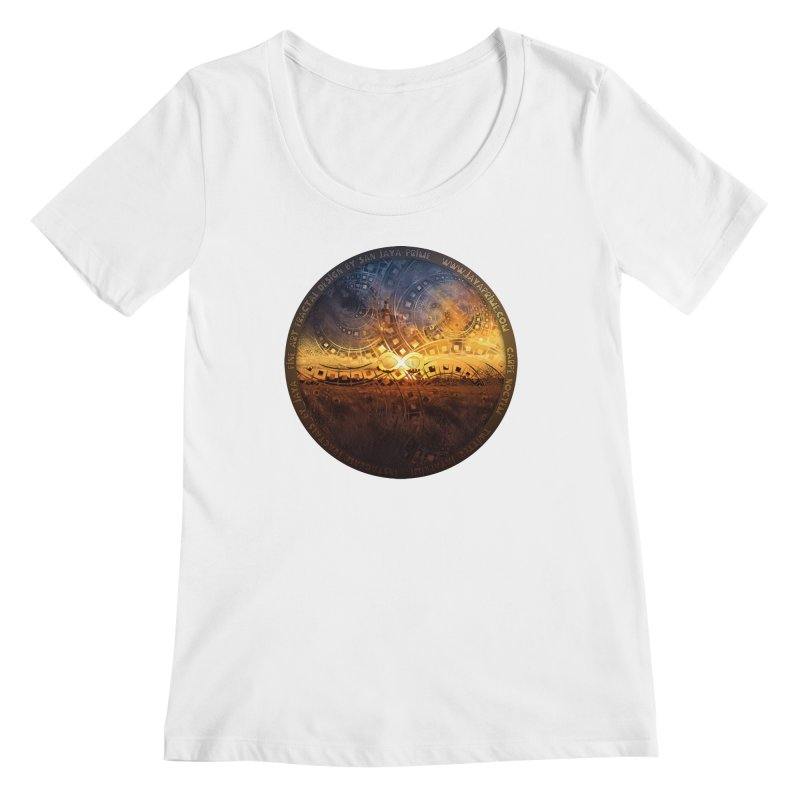 The Endless Sunset Over Our Golden Elysian Fields Women's Regular Scoop Neck by The Fractal Art of San Jaya Prime