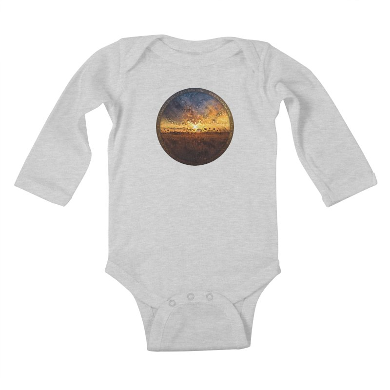 The Endless Sunset Over Our Golden Elysian Fields Kids Baby Longsleeve Bodysuit by The Fractal Art of San Jaya Prime
