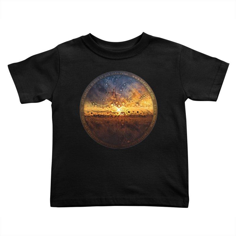 The Endless Sunset Over Our Golden Elysian Fields Kids Toddler T-Shirt by The Fractal Art of San Jaya Prime